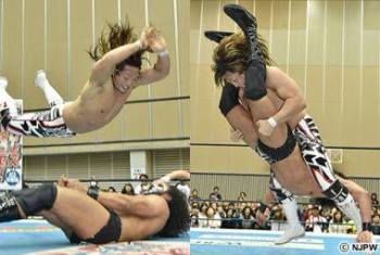 Tanahashi delivers Styles Clash (r) and High Fly Flow from Friday's main event.