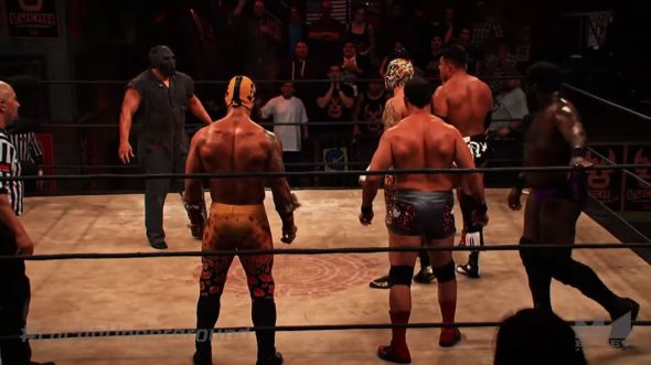 Crowded ring at Lucha Underground Aztec Warfare 2
